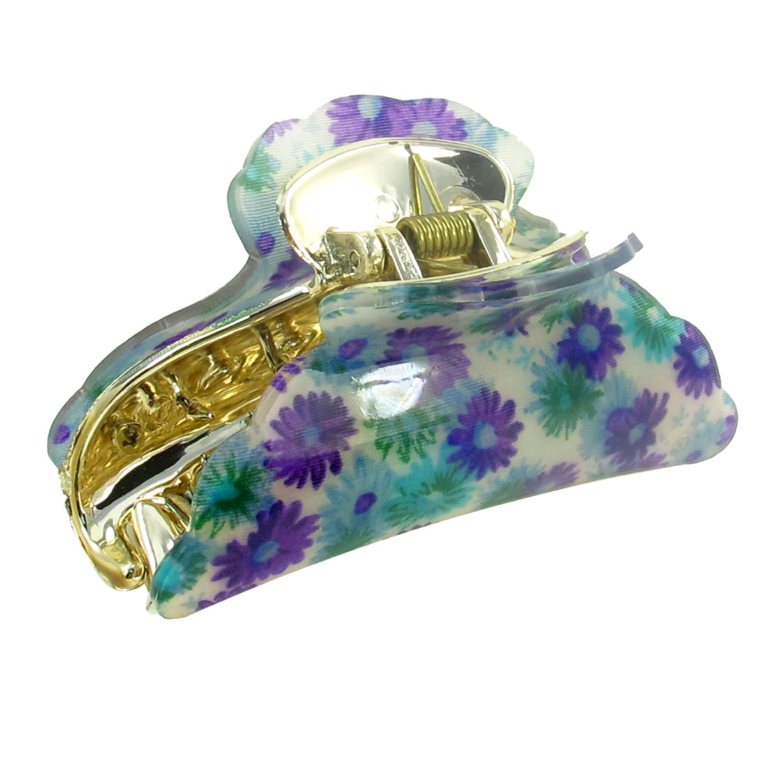 Green Purple Flower Pattern Plastic Hairclip Hair Clamp Claw for Women