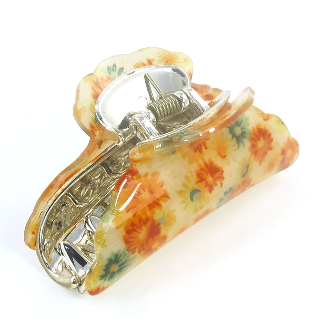 Orange Chrysanthemum Pattern Plastic Hairclip Hair Clamp Claw for Women