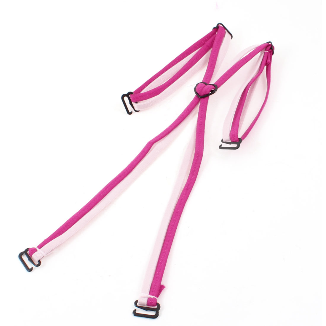 Pink Fuchsia Nylon Elastic Fabric Cross Back Bra Strap for Ladies