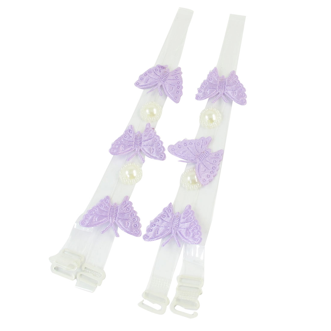 Lady Faux Pearl Decor Purple Butterfly Pattern Clear Bra Shoulder Straps Pair