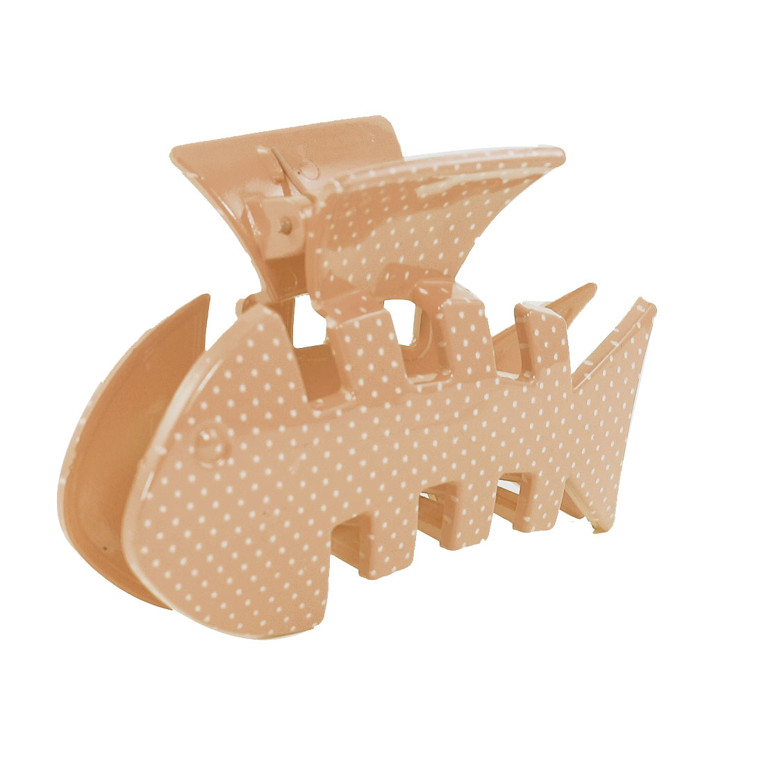 Lady Brown Fish Style Dots Print Plastic Spring Toothed Hairclip Hair Claw