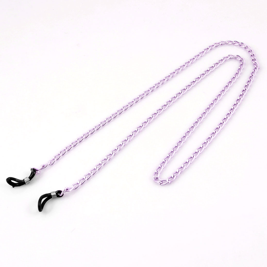 Adjustable Rubber Loop Tip Pink Alloy Twisted Chain Glasses Retainer