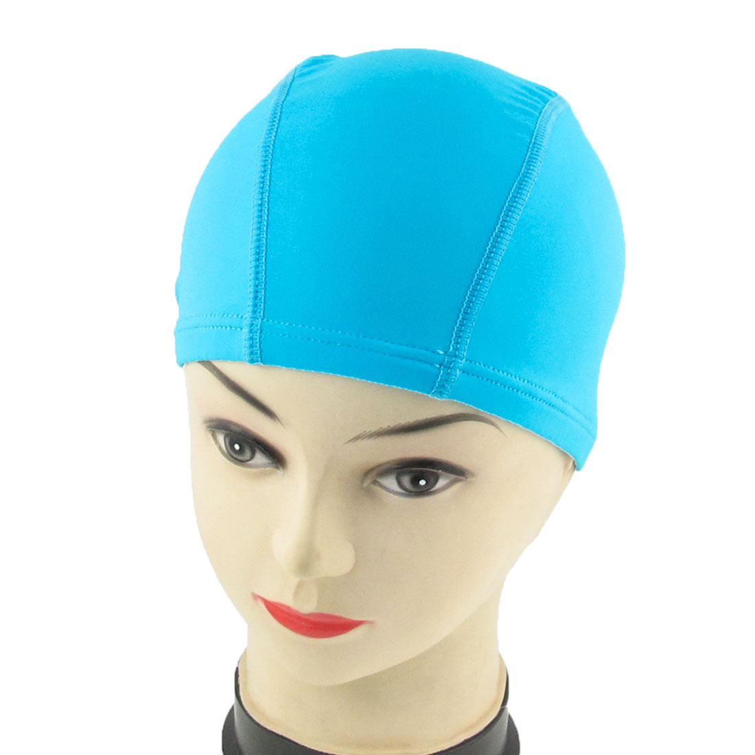 Adult Elastic Fiber Cotton Cloth Swimming Swimmer Cap Hat Teal Blue