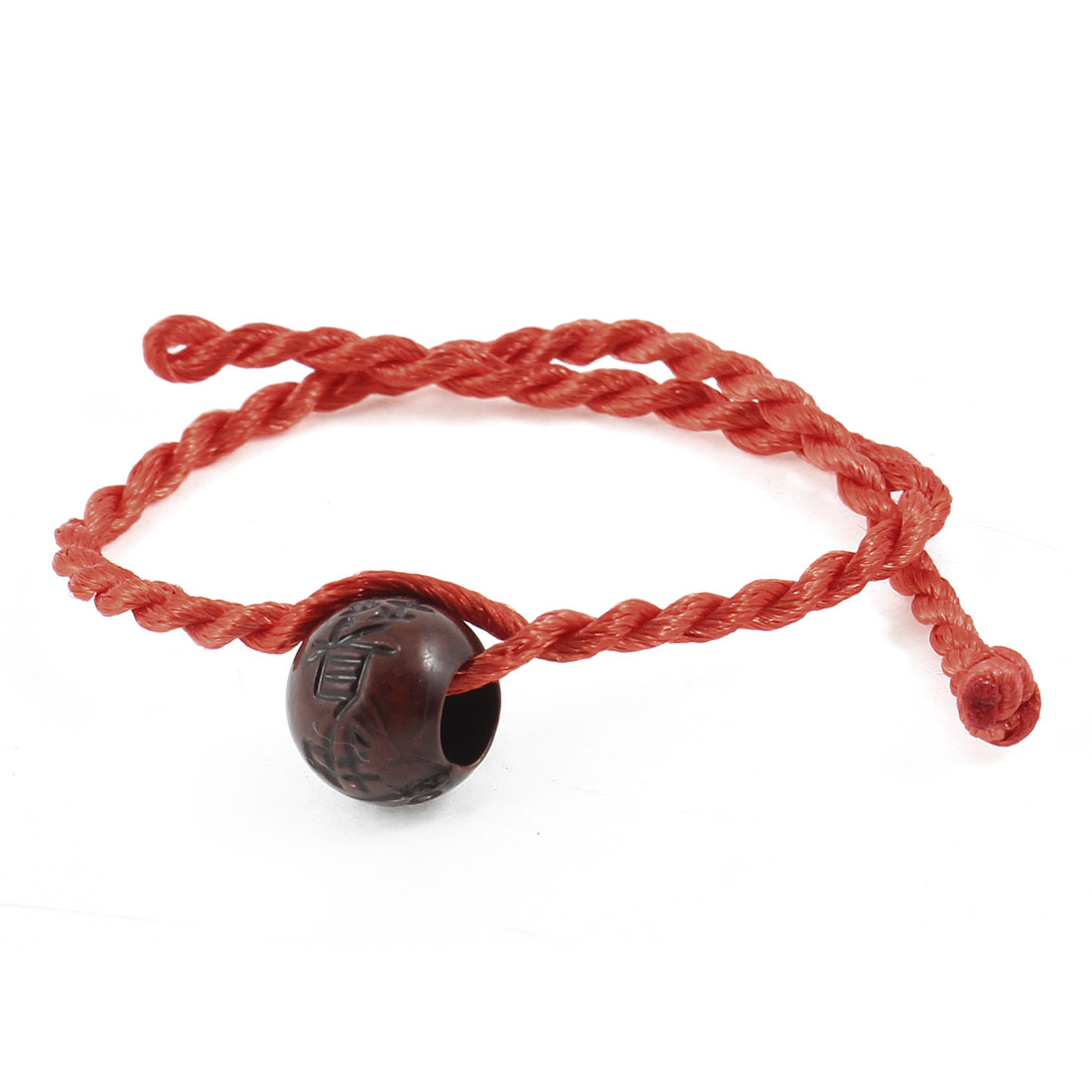 Button Knot Closure Wooden Chinese Block Red Rope Wrist Bracelets Bangles