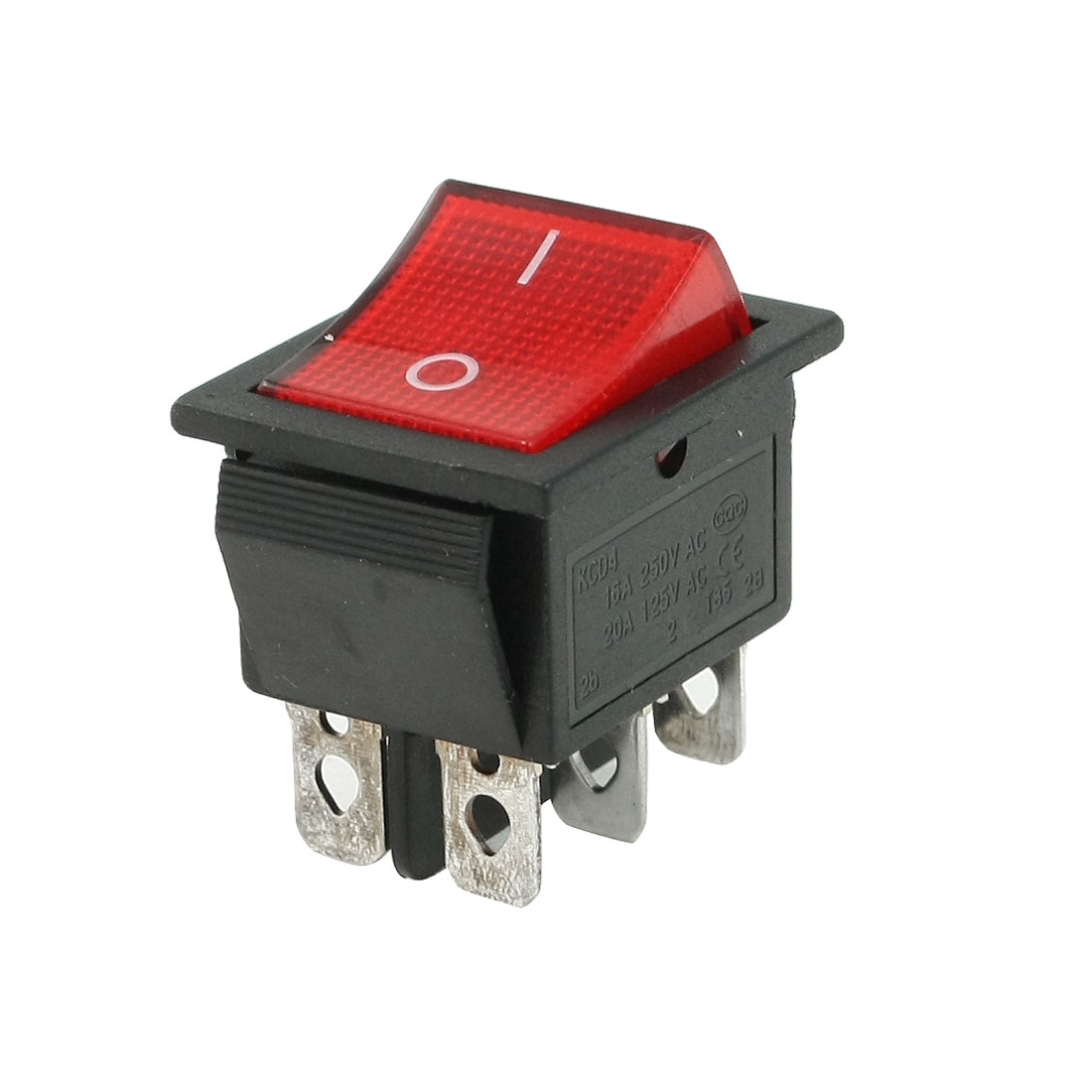 Red AC 15A/250V 20A/125V DPDT On-OFF 6 Pin Boat Rocker Switch
