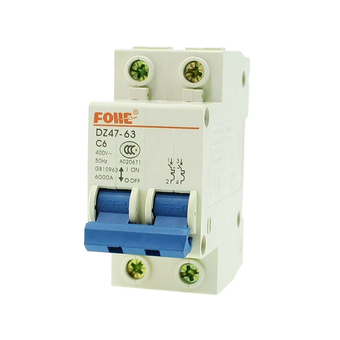 AC 400V 63Amp 2-Pole Overload Protection MCB Mini Circuit Breaker