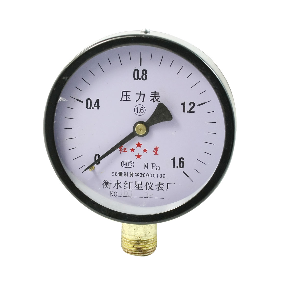 M20x1.5mm Thread Black Round Air Water Pressure Gauge 1.6 Mpa