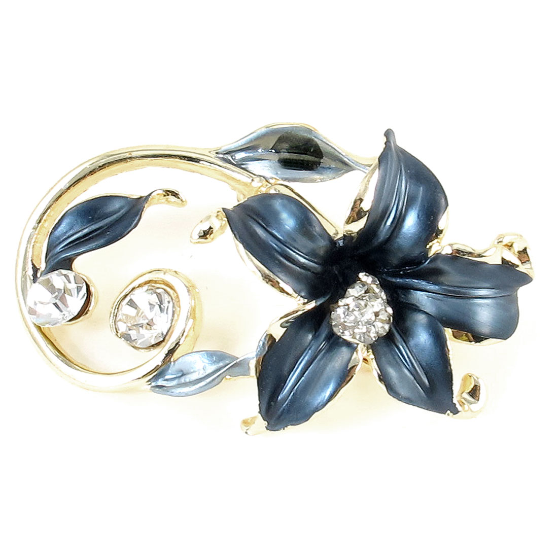 Glitter Rhinestones Decor Steel Blue Flower Type Pin Clip Brooch for Women