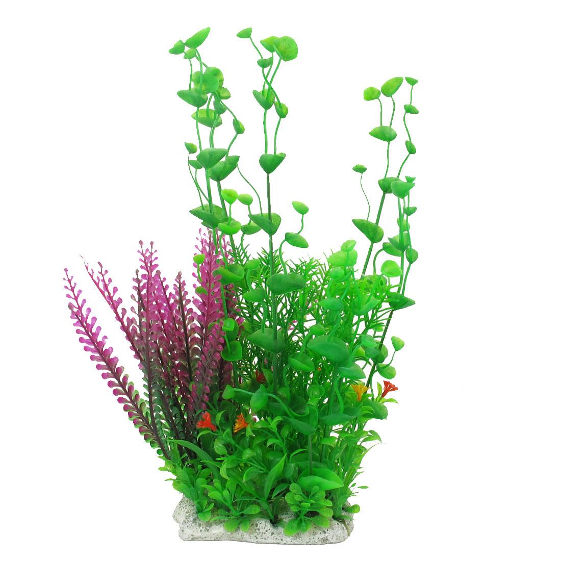 "Fishbowl Aquarium Decor Purple Green Plastic Plant Water Grass 13"" Height"