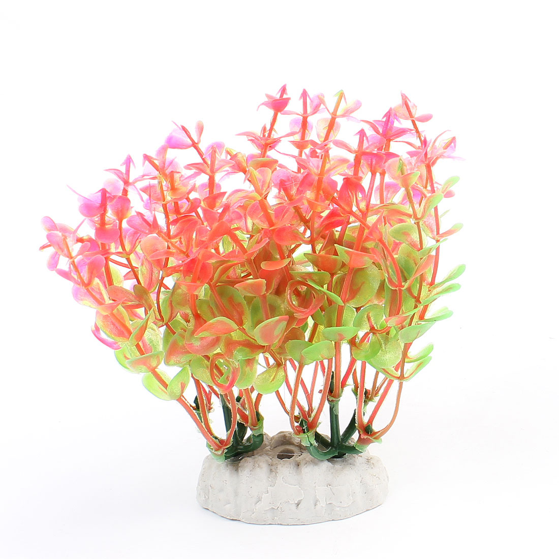 "4.8"" Height Fish Tank Decor Aquascaping Plastic Water Plant Grass Hot Pink Green"