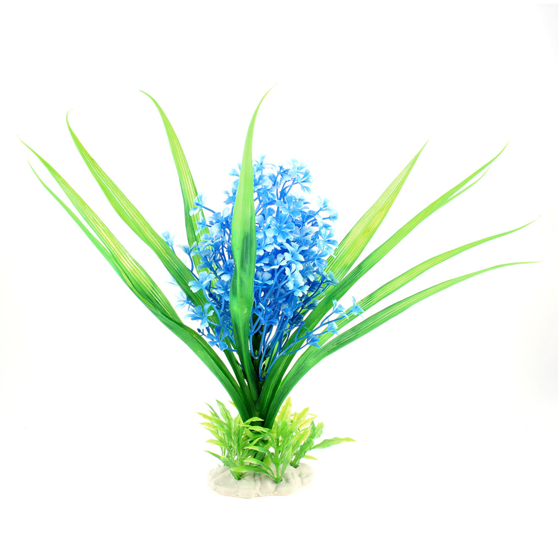 "13.2"" Height Green Maya Blue Underwater Plastic Plant for Fish Tank"