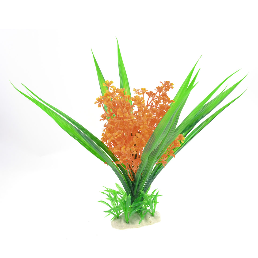 "Orange Green Aquarium Plastic Simulation Water Plant Decor 12"" High"