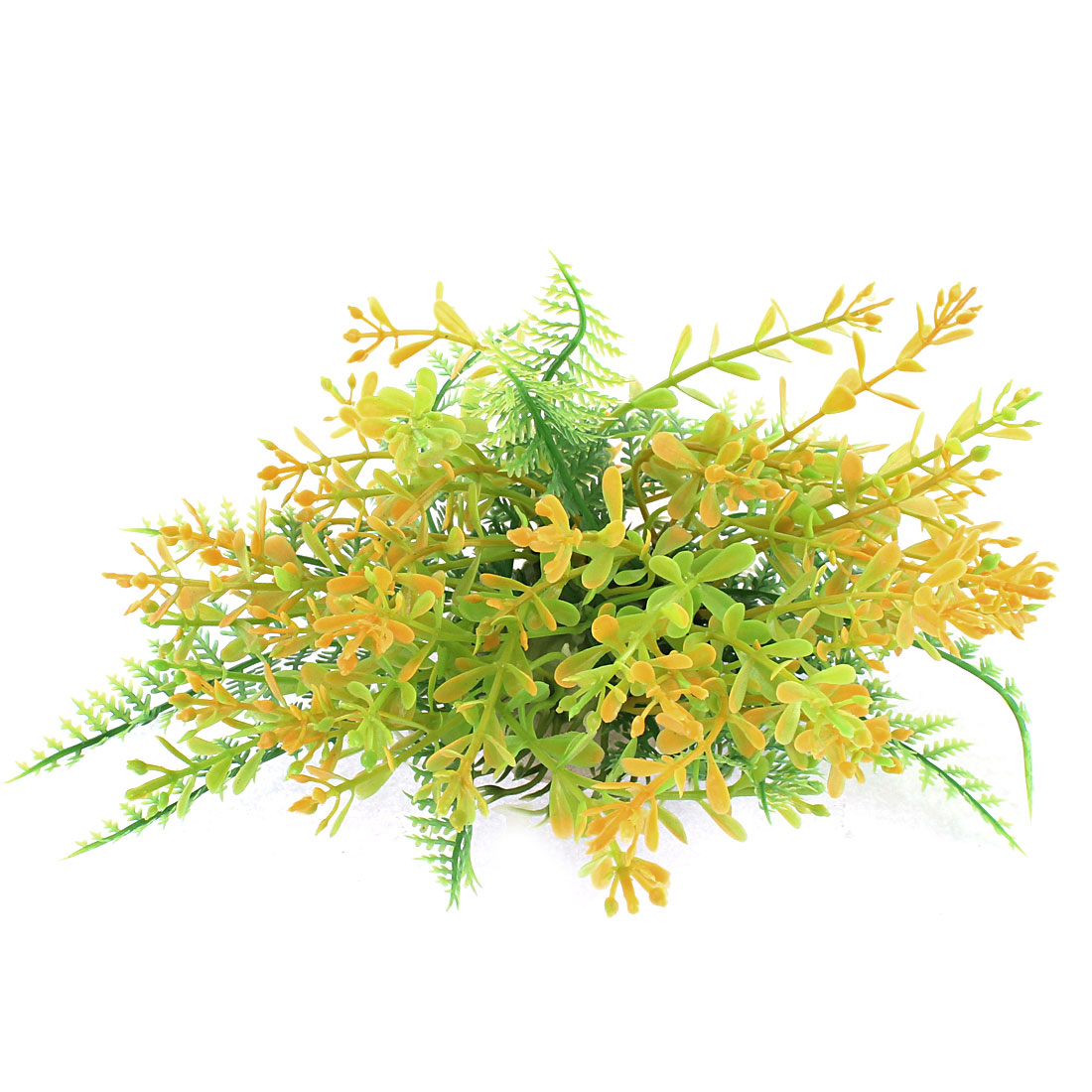 Aquarium Landscaping Manmade Green Yellow Plastic Plant Water Grass 9cm Height