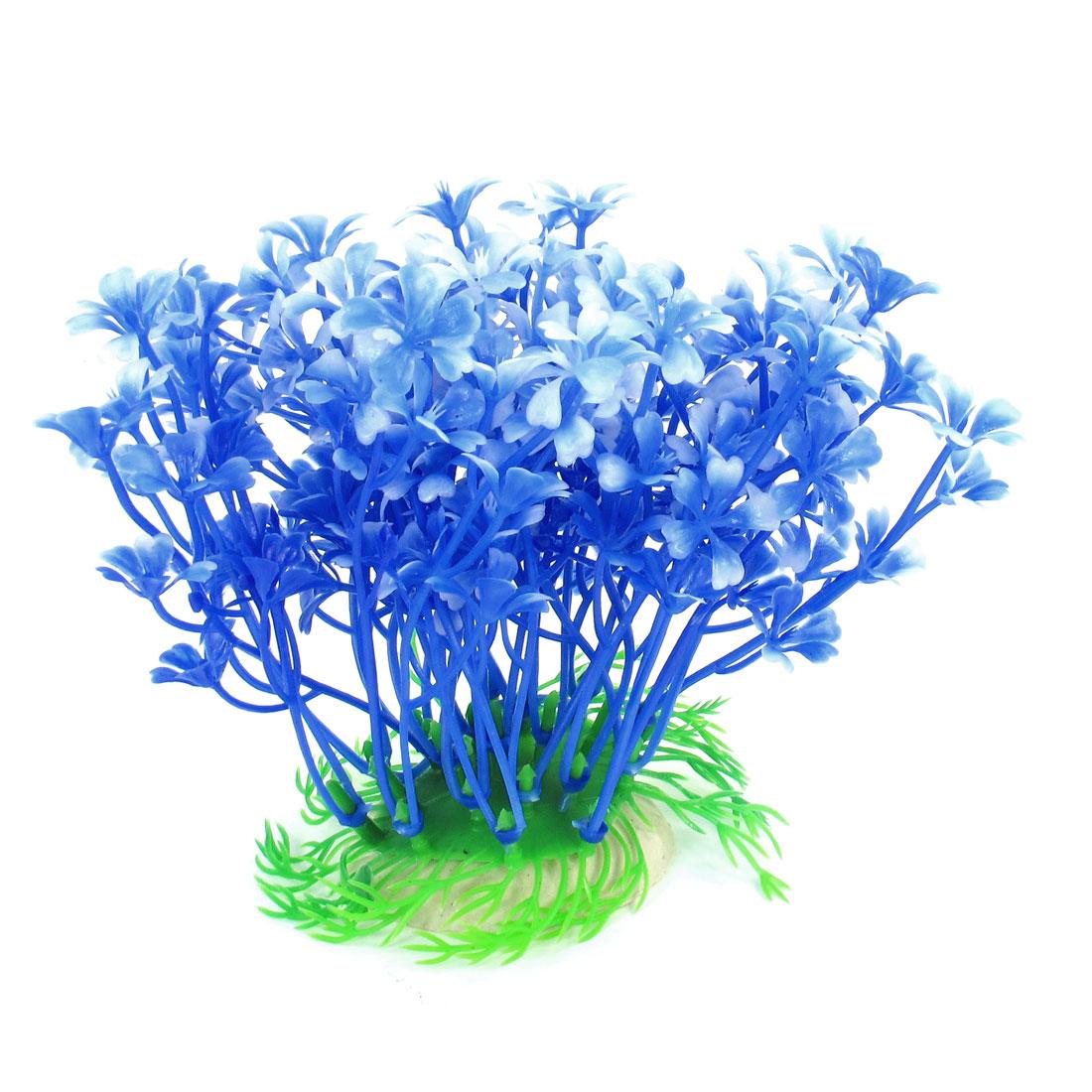"Fish Tank Decor Aquascaping Emulational Water Plant Grass Blue White 4.5"" High"