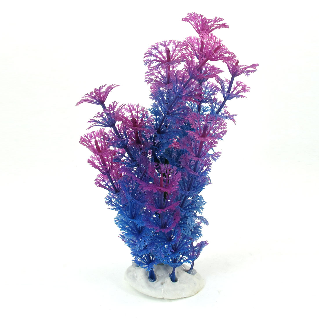"Fish Tank Decor Ceramic Base Blue Purple Artificial Water Plant Grass 7.5"" High"