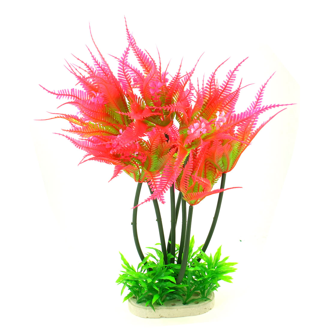 45cm High Ceramic Base Green Fuchsia Plastic Plant Water Grass for Aquarium