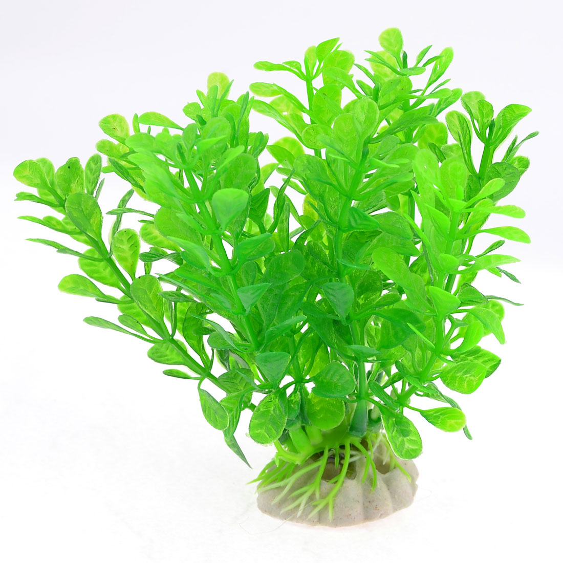 Green Aquarium Ceramic Base Artificial Plant Grass 10cm High