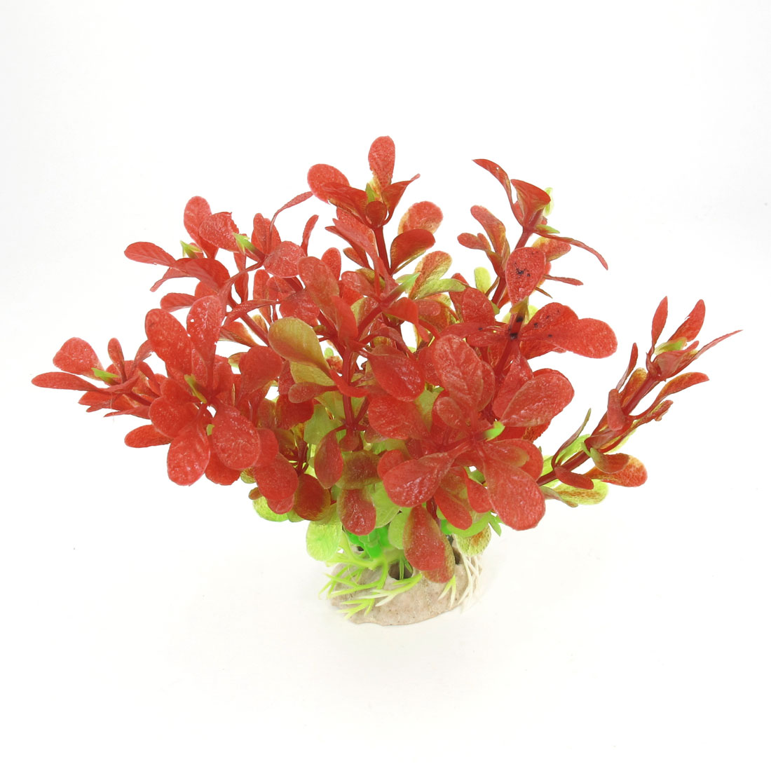 "Aquarium Ornament Ceramic Base Emulational Red Green Plant Water Grass 4.3"" High"
