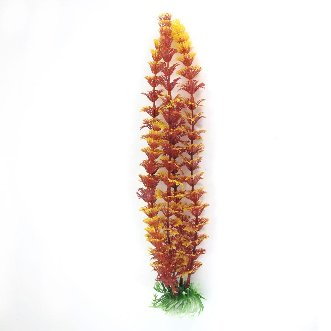 31cm High Ceramic Base Burgundy Plastic Plant Water Grass for Fishbowl Aquarium