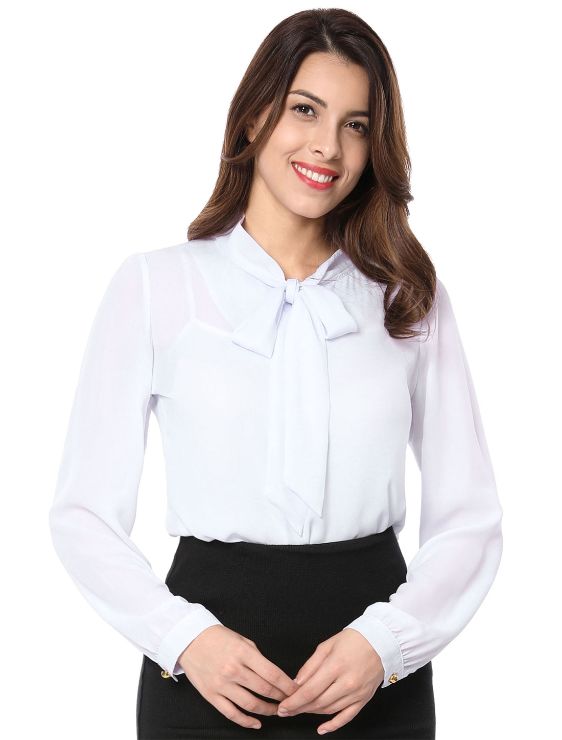Ladies Chic Self-Tie Bowknot Stand Collar Long Sleeve White Blouse XS