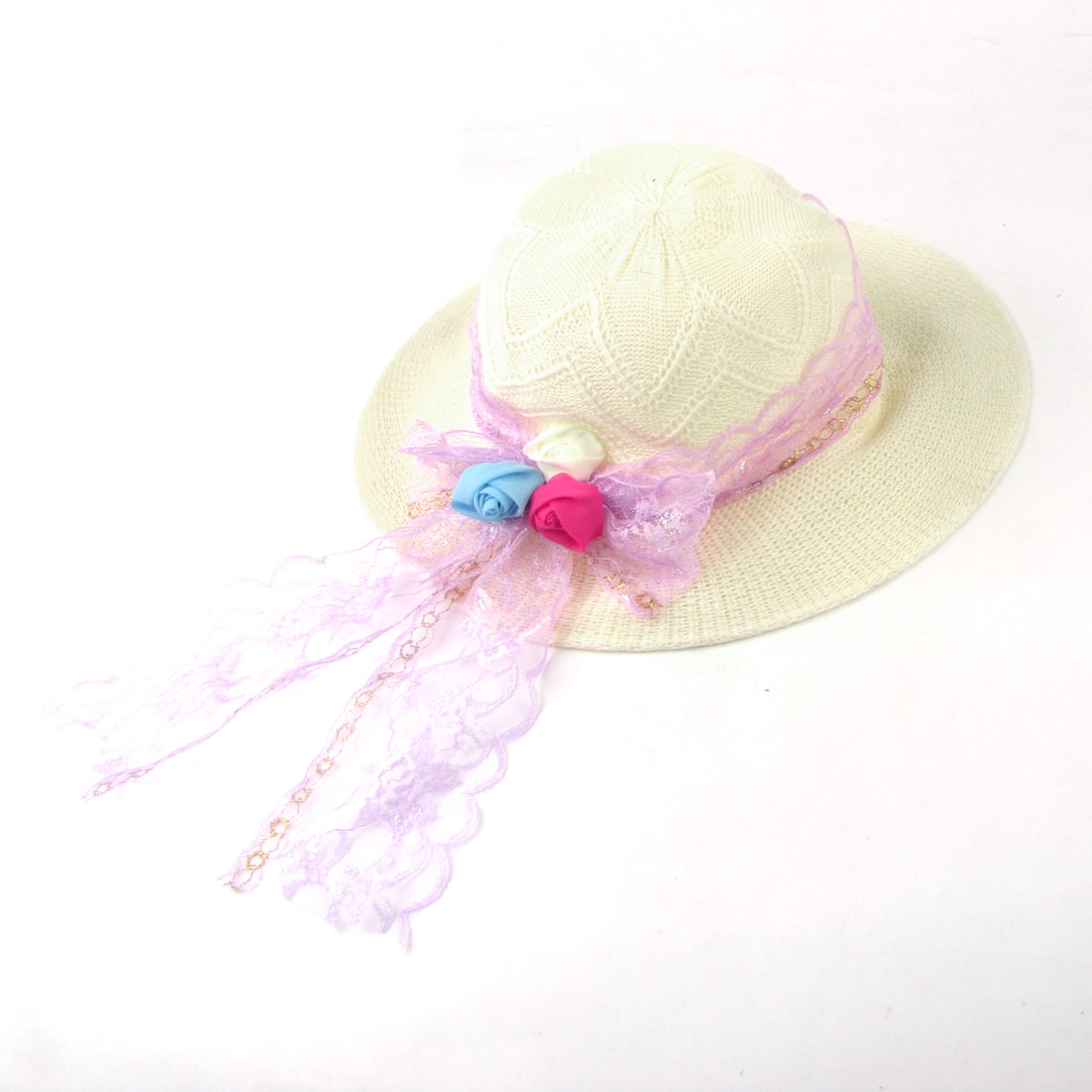 Travel Women Flowers Detailing Lace Straw Beach Sun Hat Light Purpel Off White