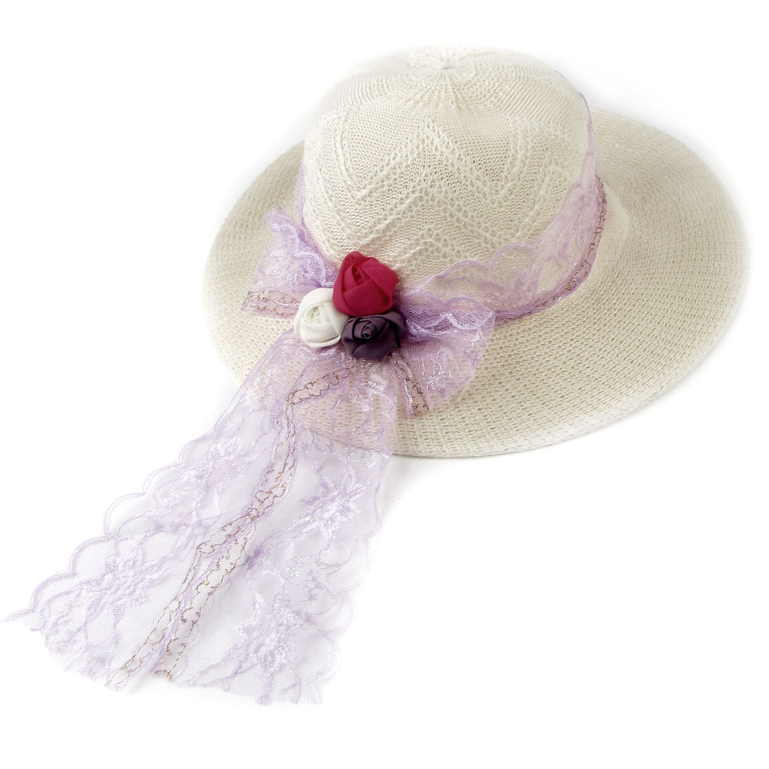 Flower Decor Light Purple Lace Band Straw Summer Sun Hat Off White for Ladies