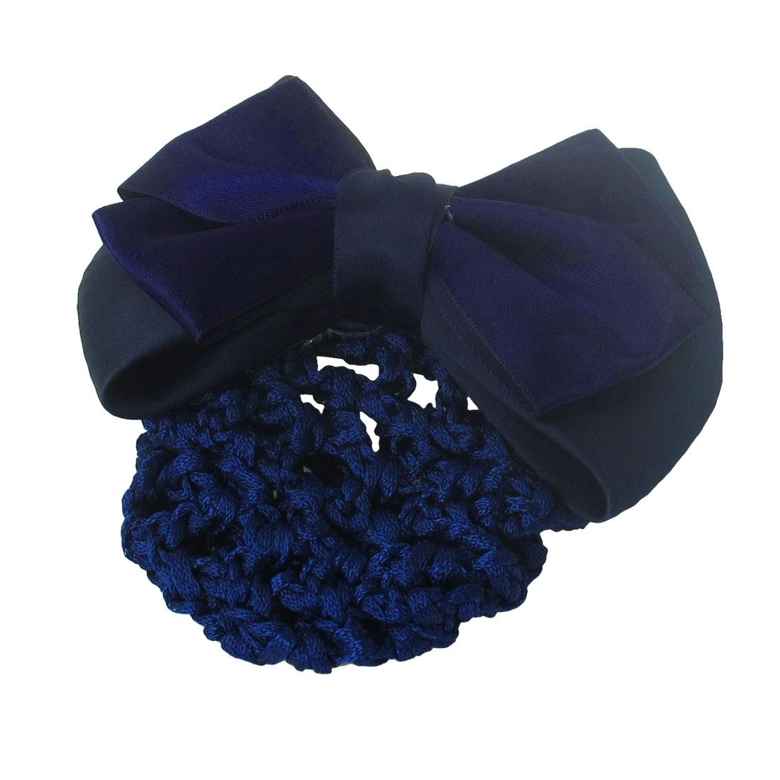Dark Blue Bowknot Decor French Clip Snood Net Hair Barrette for Ladies