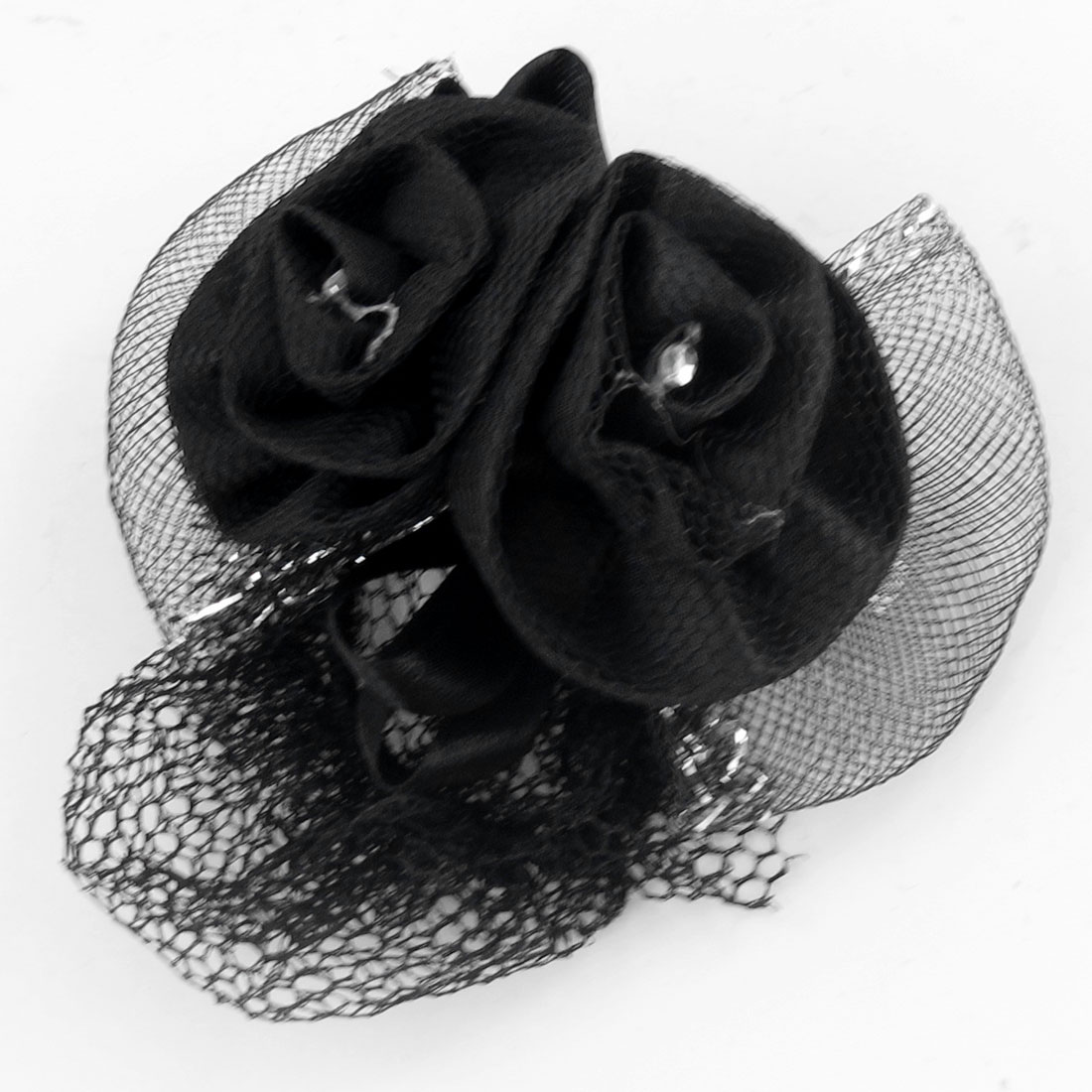 Black Flowers Detailing French Clip Snood Net Hair Barrette for Ladies