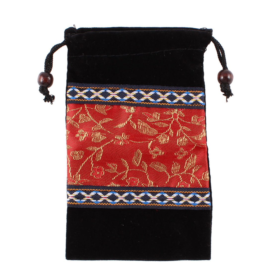 Portable Red Embroidered Flower Pattern Velvet Vertical Pouch for Mobile Cell Phone