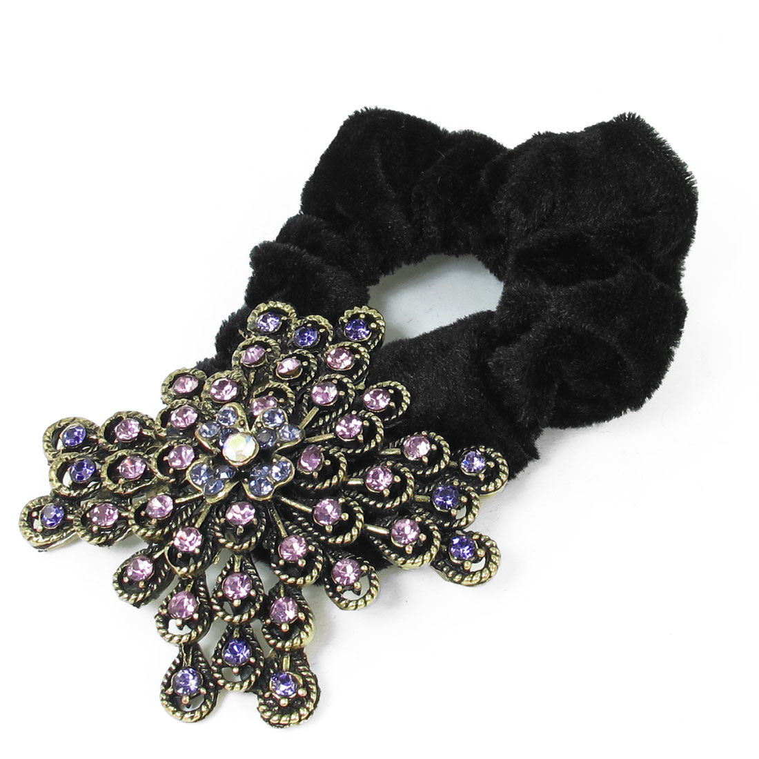 Ladies Pink Purple Rhinestone Inlaid Flower Detail Hair Tie Ponytail Holder