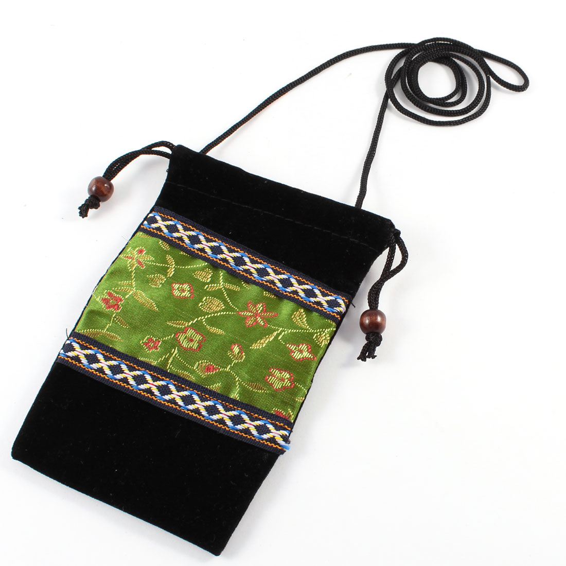 Embroidered Flower Patter Bead Button Closure Drawstring Neck Phone Pouch