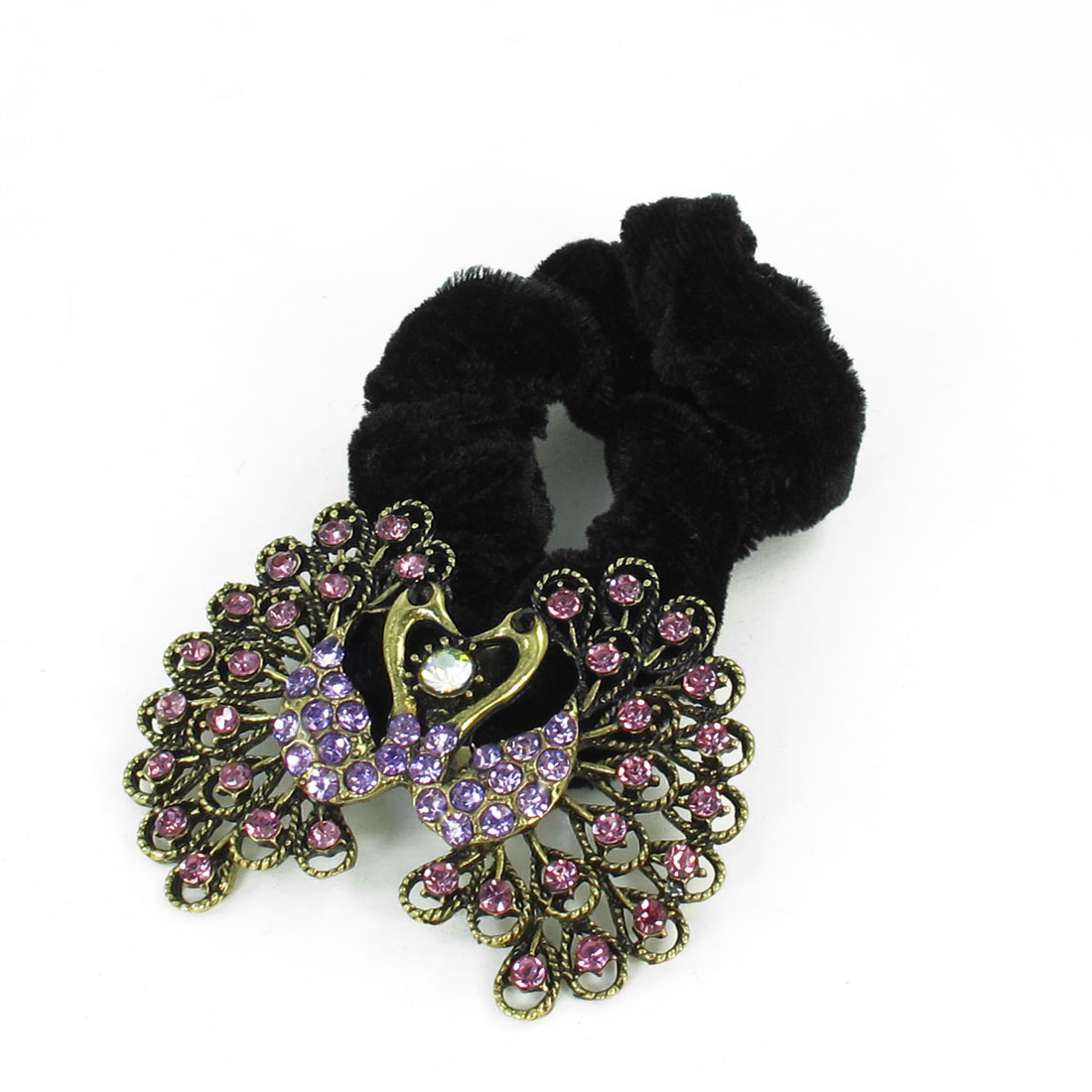 Ladies Purple Rhinestone Inlaid Twin Peacock Detail Hair Tie Ponytail Holder