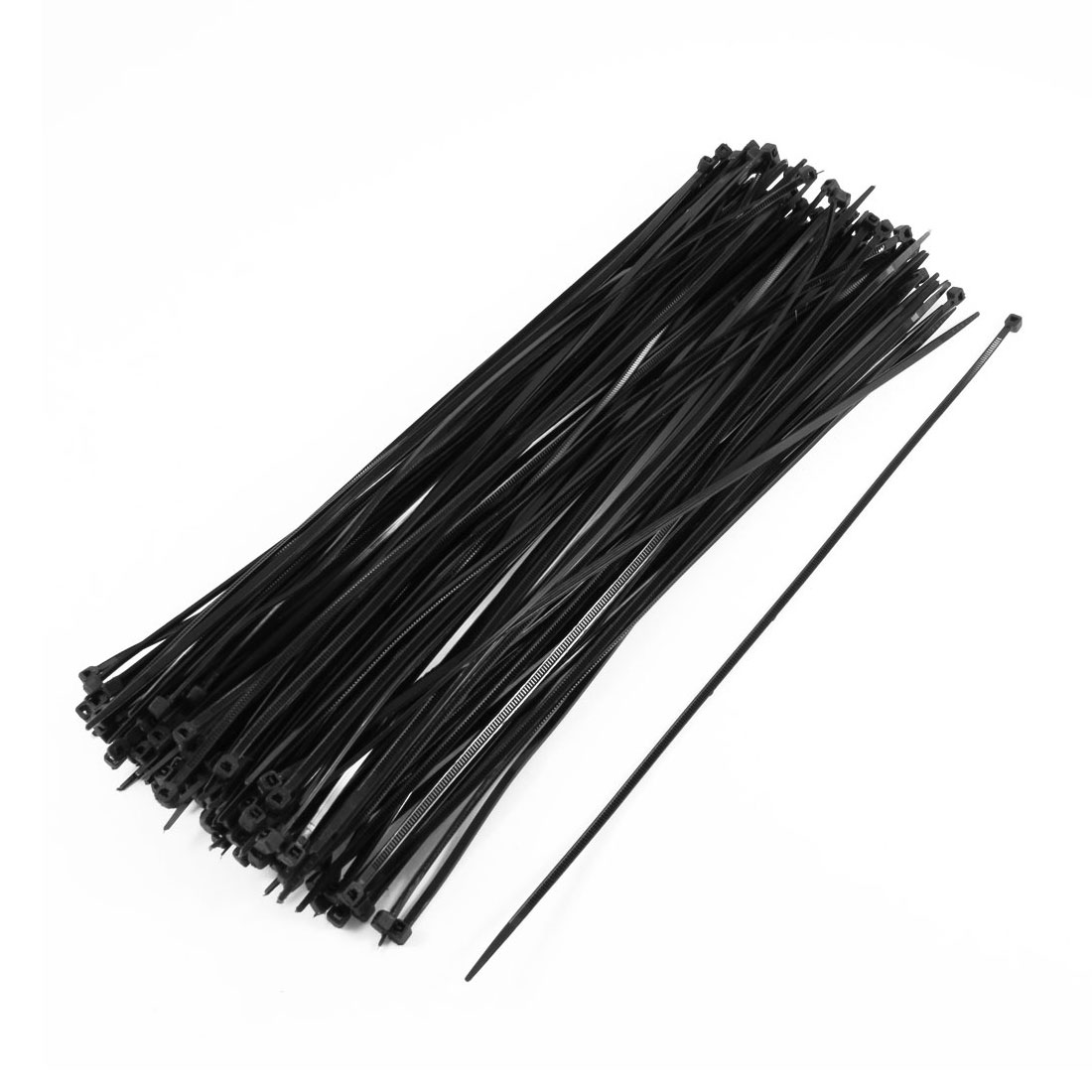 175 Pcs 4mmx300mm Plastic Power Cable Wire Cord Zip Ties Straps Black