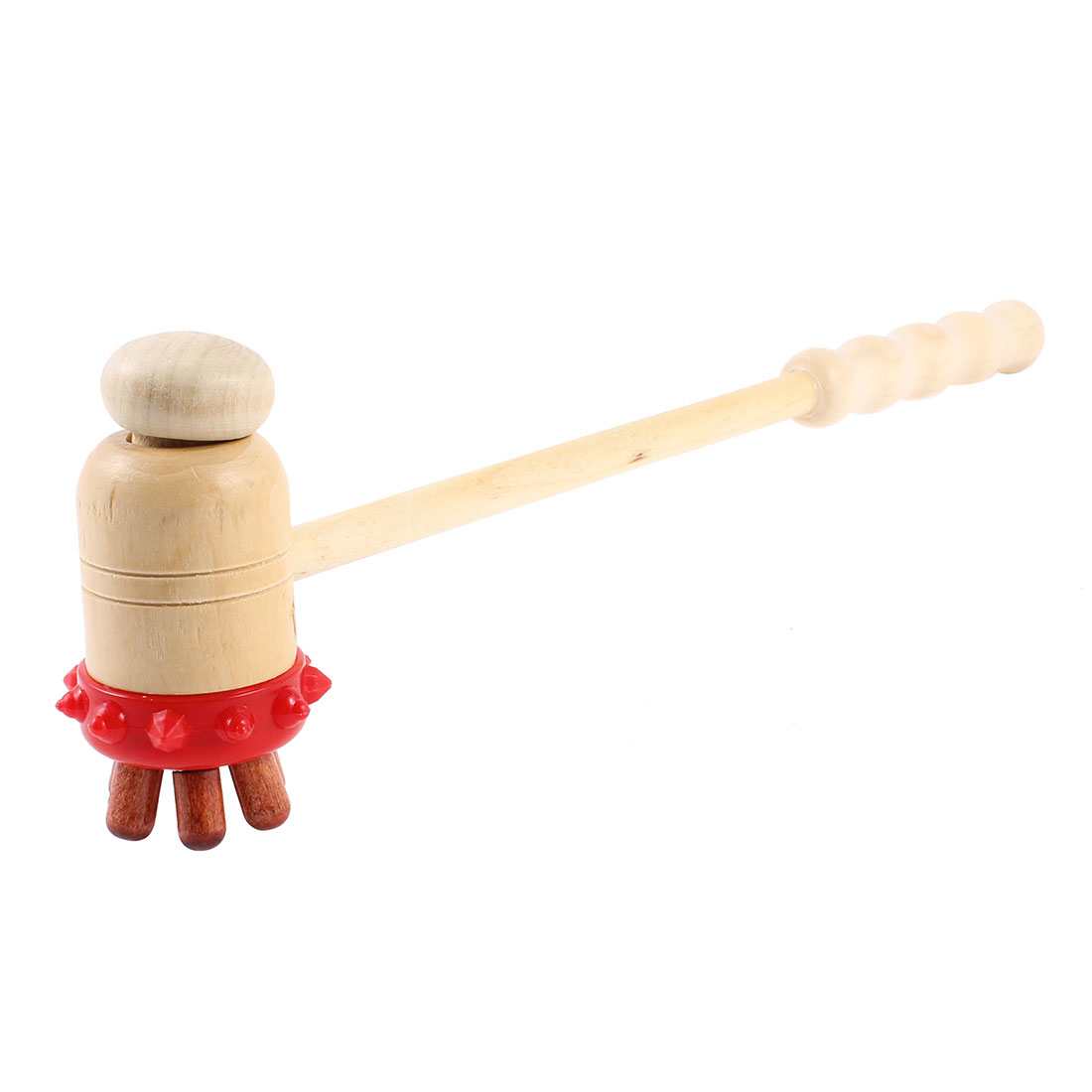 "Beige Wooden Handgrip Body Shoulder Back Massage Hammer Stick 11.4"" Long"