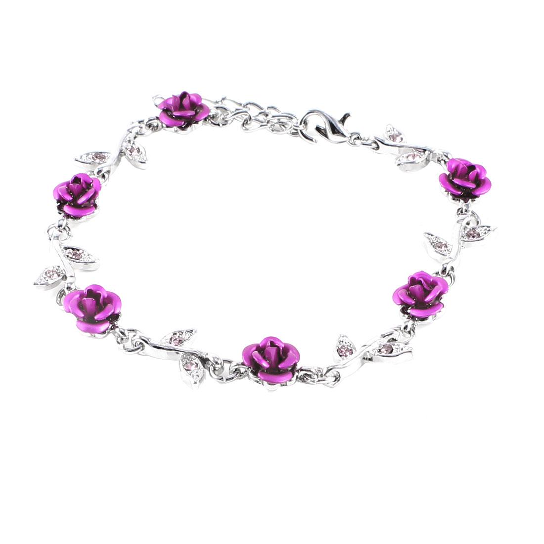 Metal Silver Tone Purple Rose Flowers Decor Wrist Chain Bracelet Bangle for Girl