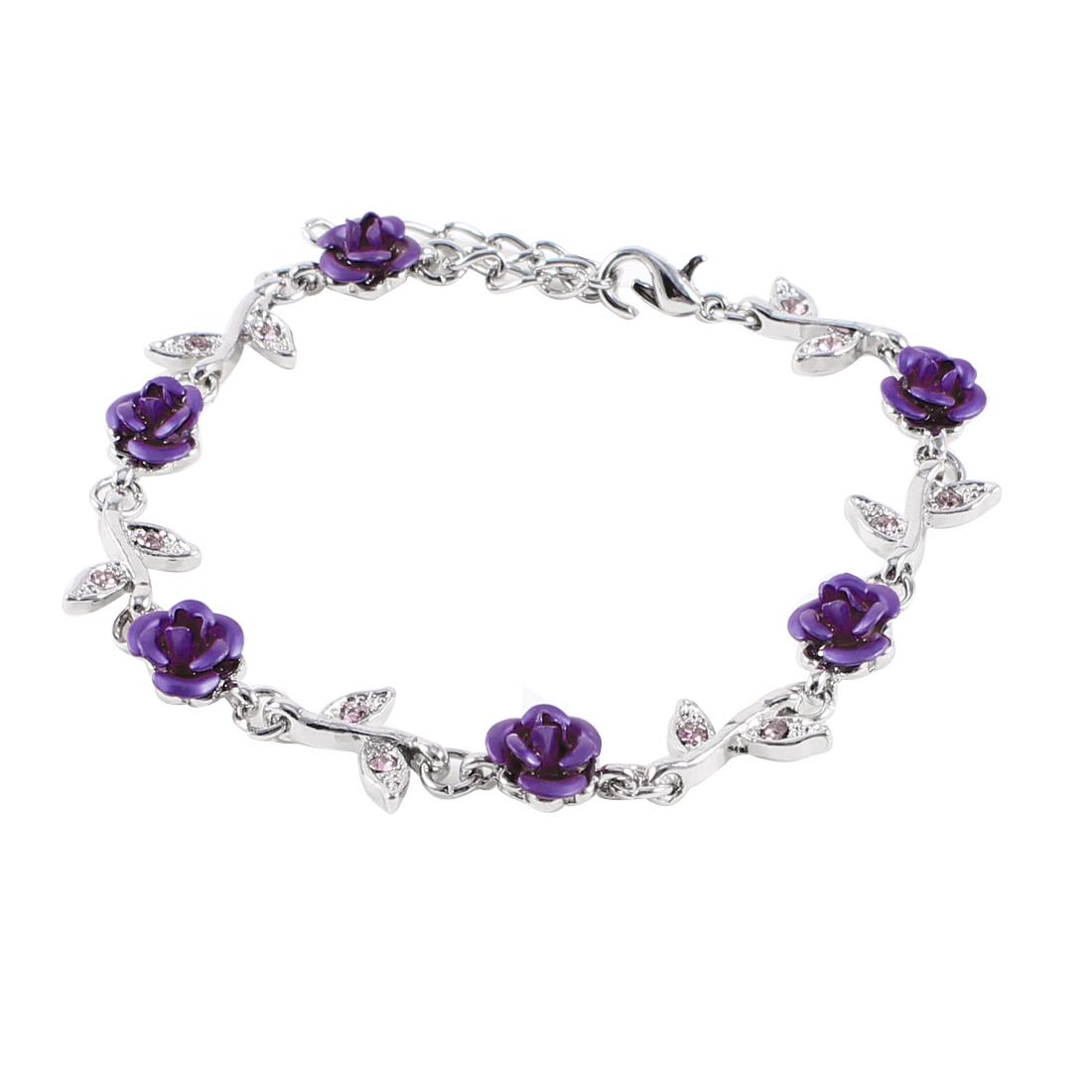 Girl Metallic Dark Purple Roses Leaves Detail Adjustable Chain Bracelet Bangle
