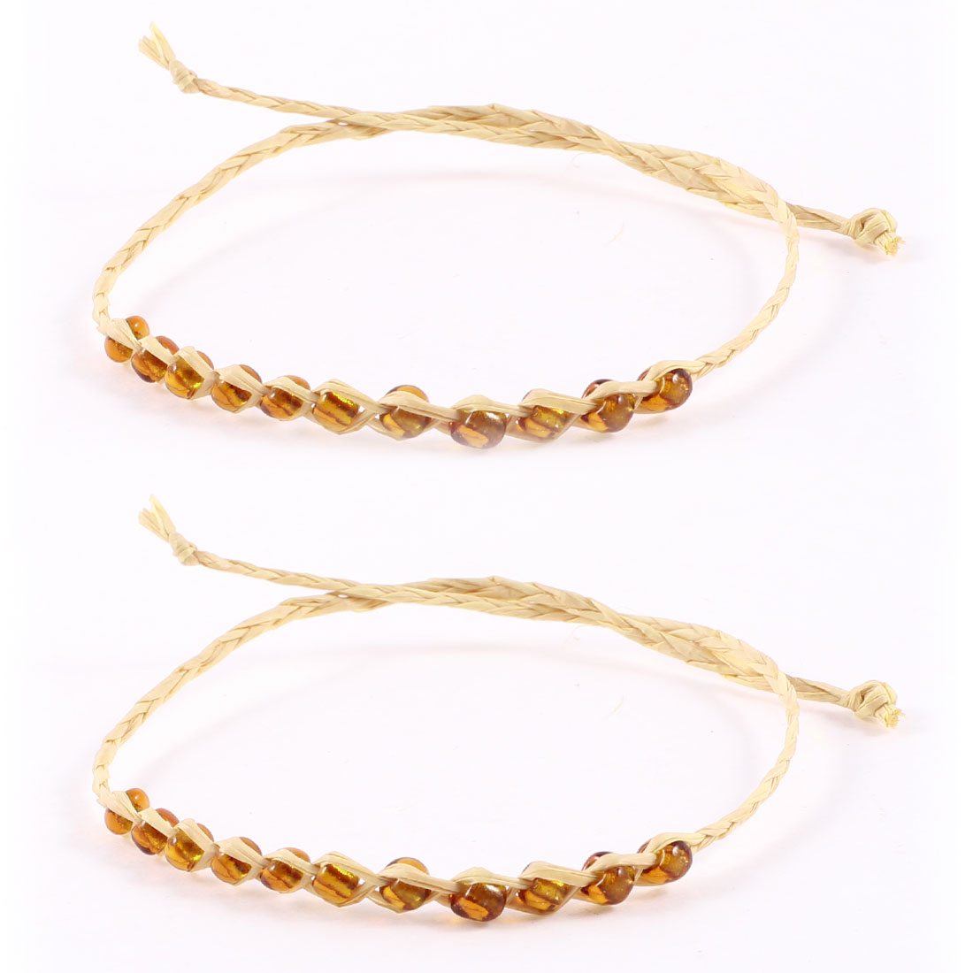 Beige Brown Plastic Beads Decorated Self Tie Straw Bracelet Bangle 2 Pcs