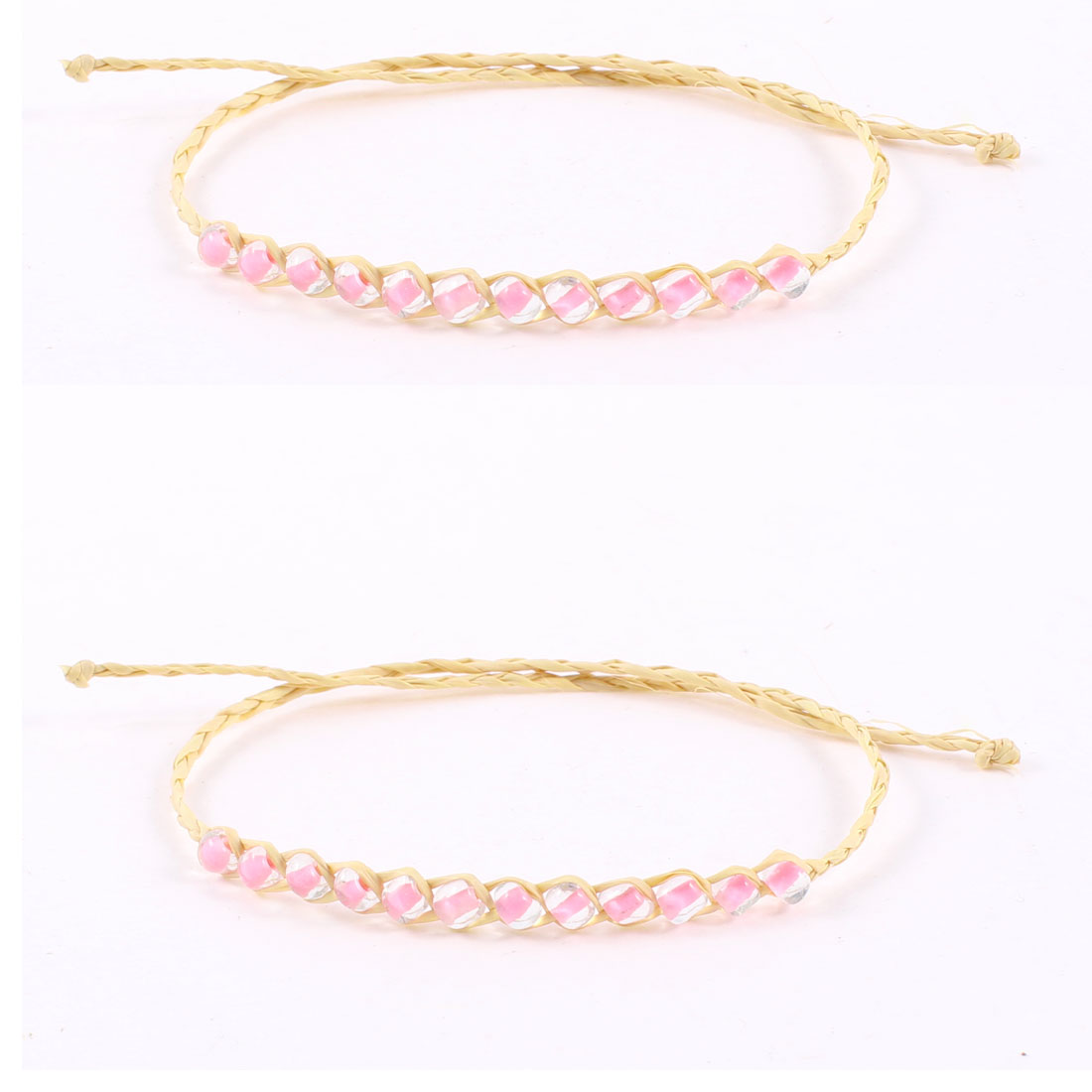 Beige Pink Plastic Beads Decorated Self Tie Straw Bracelet Bangle 2 Pcs