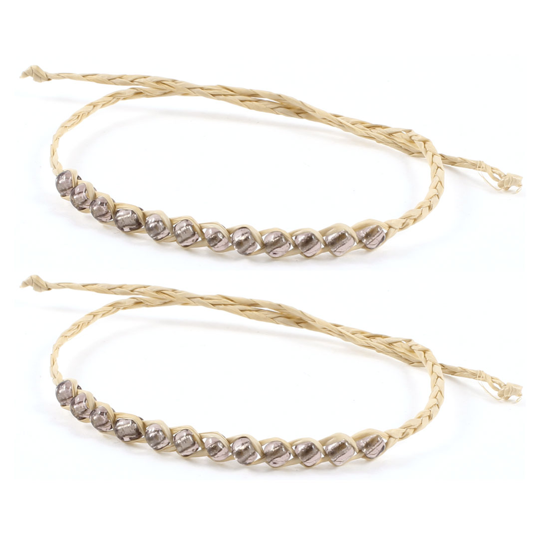 2 Pcs Beige Gray Blinking Beads Decor Straw Wrist Bracelets for Girl