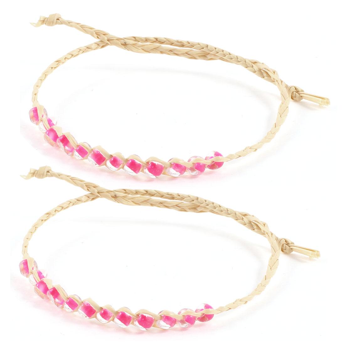 Maganta Beige Glittery Beads Decorated Lucky Straw Bracelets Bangle 2PCS