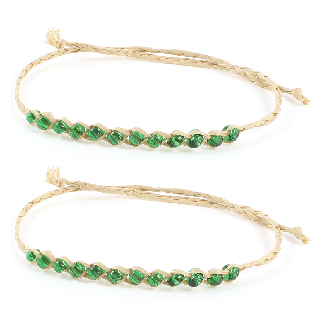 Girl Green Beige Glitter Beads Accent Straw Bracelets Wrist Ornament 2 Pcs