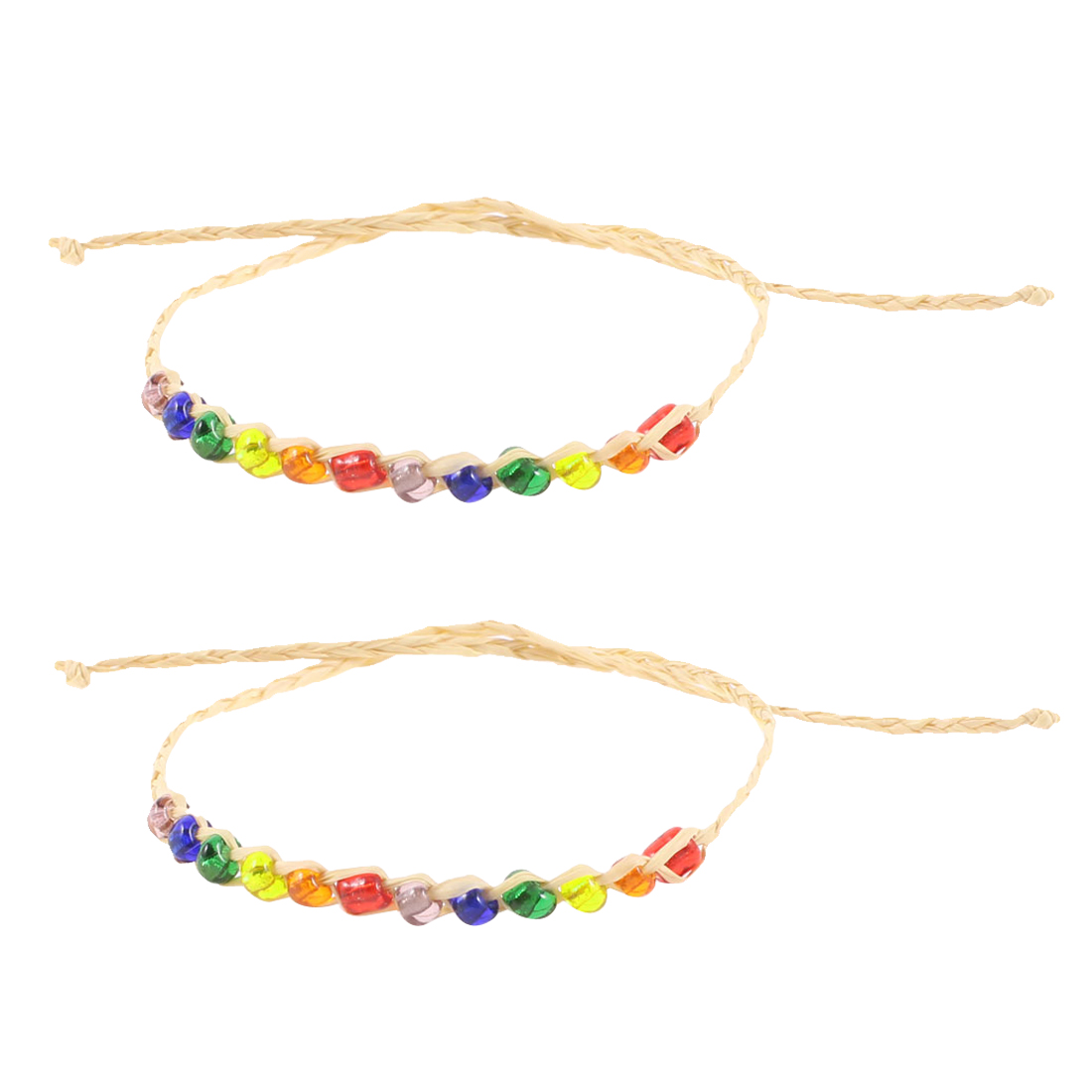 Beige Multicolor Twinkling Beads Decor Lucky Straw Bracelets Bangle 2PCS