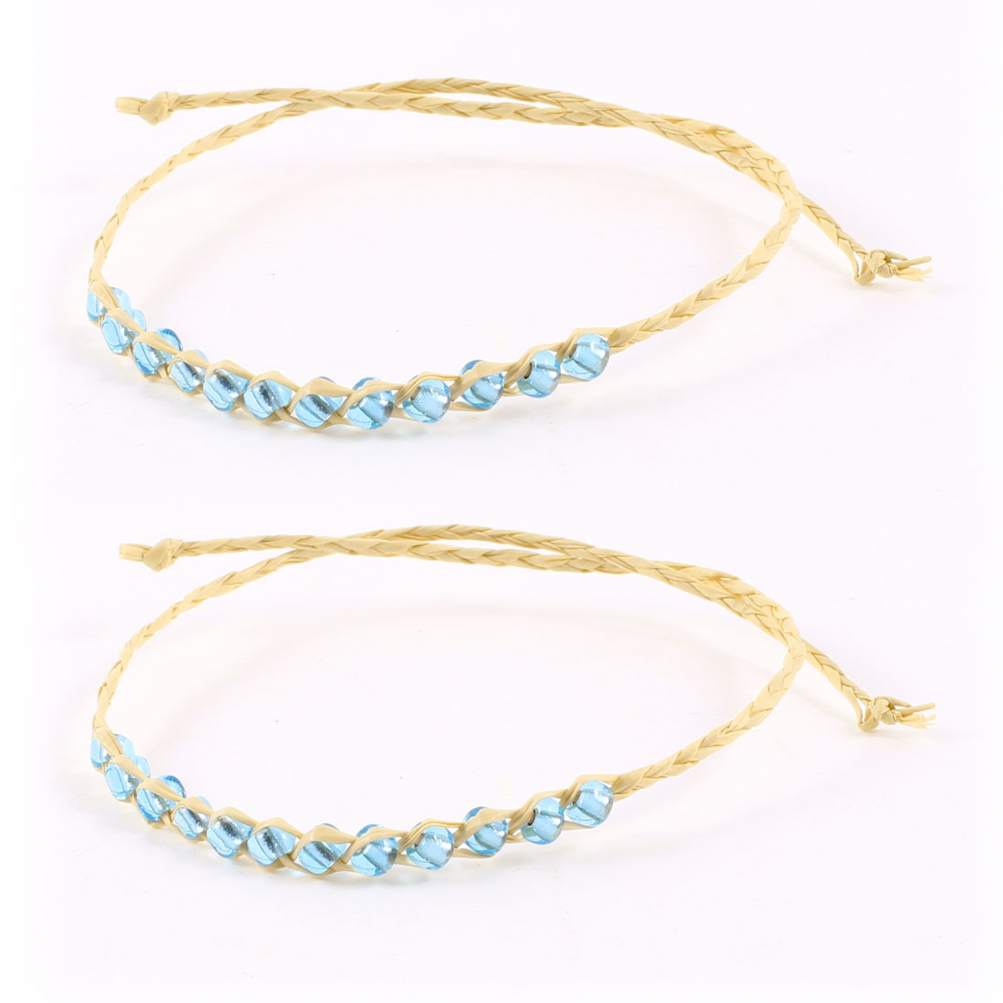 Beige Light Blue Plastic Beads Detailing Self Tie Straw Wrist Bracelet 2 Pcs