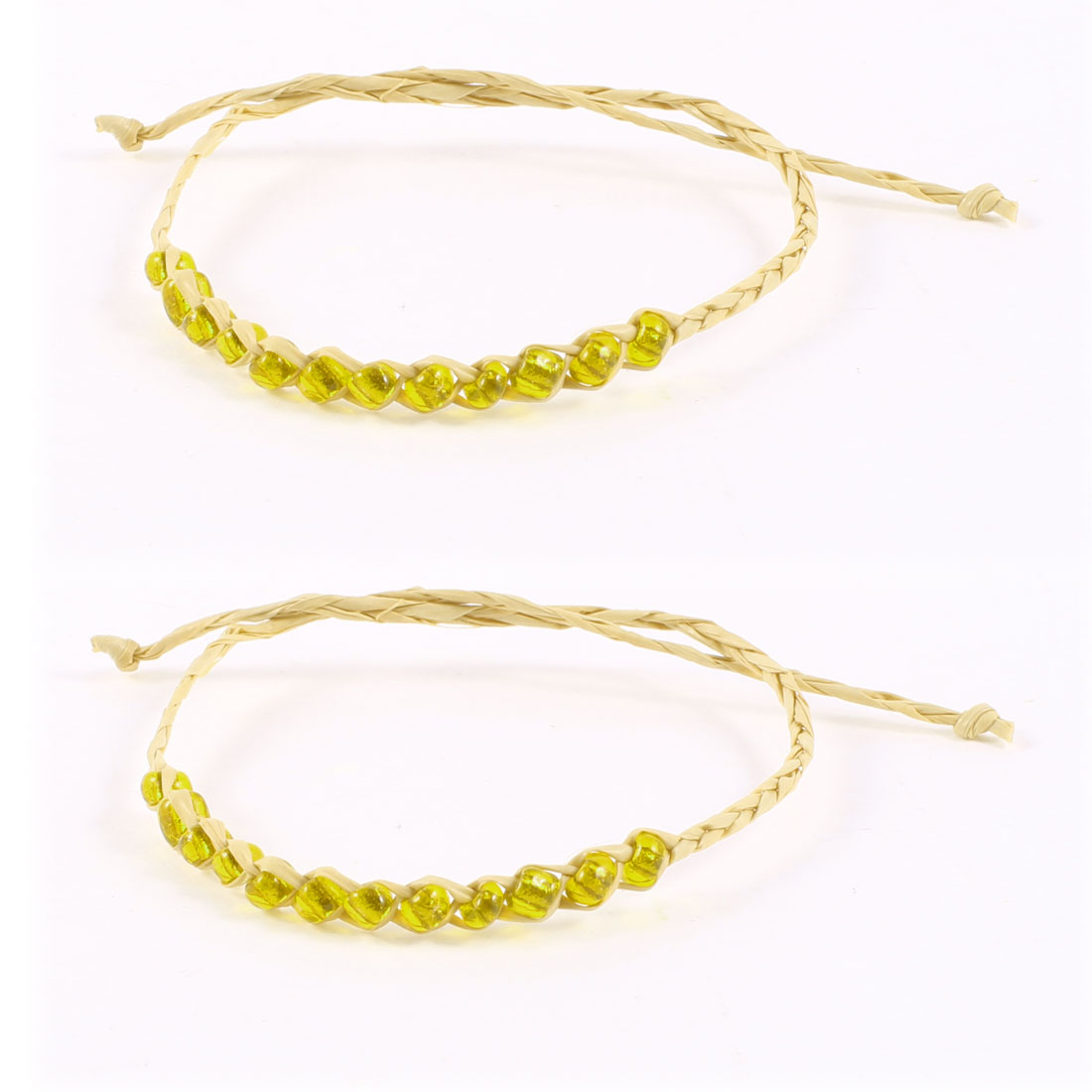 2 Pcs Yellow Beige Glistening Beads Decor Straw Wrist Bracelets for Girl
