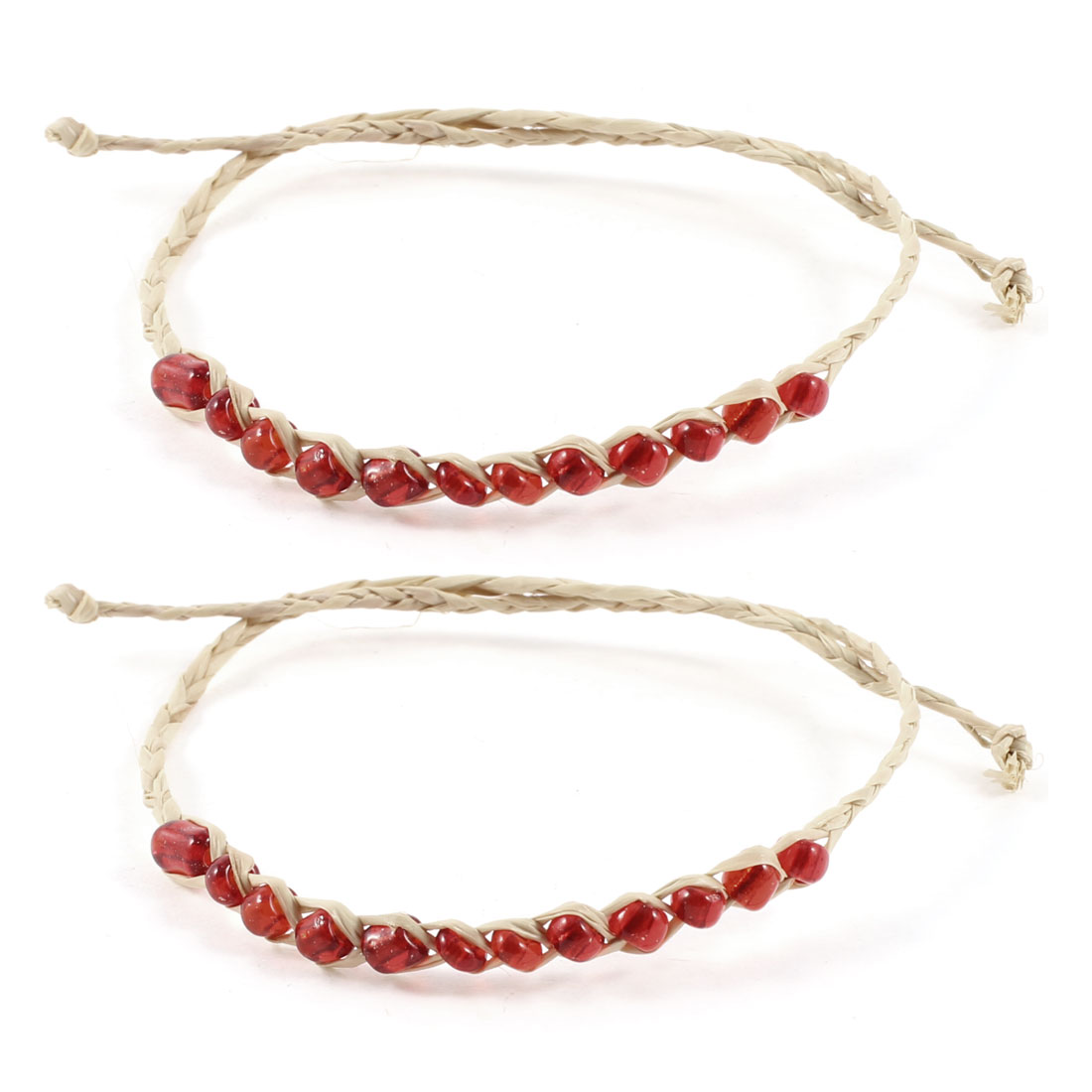 Girl Red Beige Glitter Beads Accent Straw Bracelets Wrist Ornament 2 Pcs
