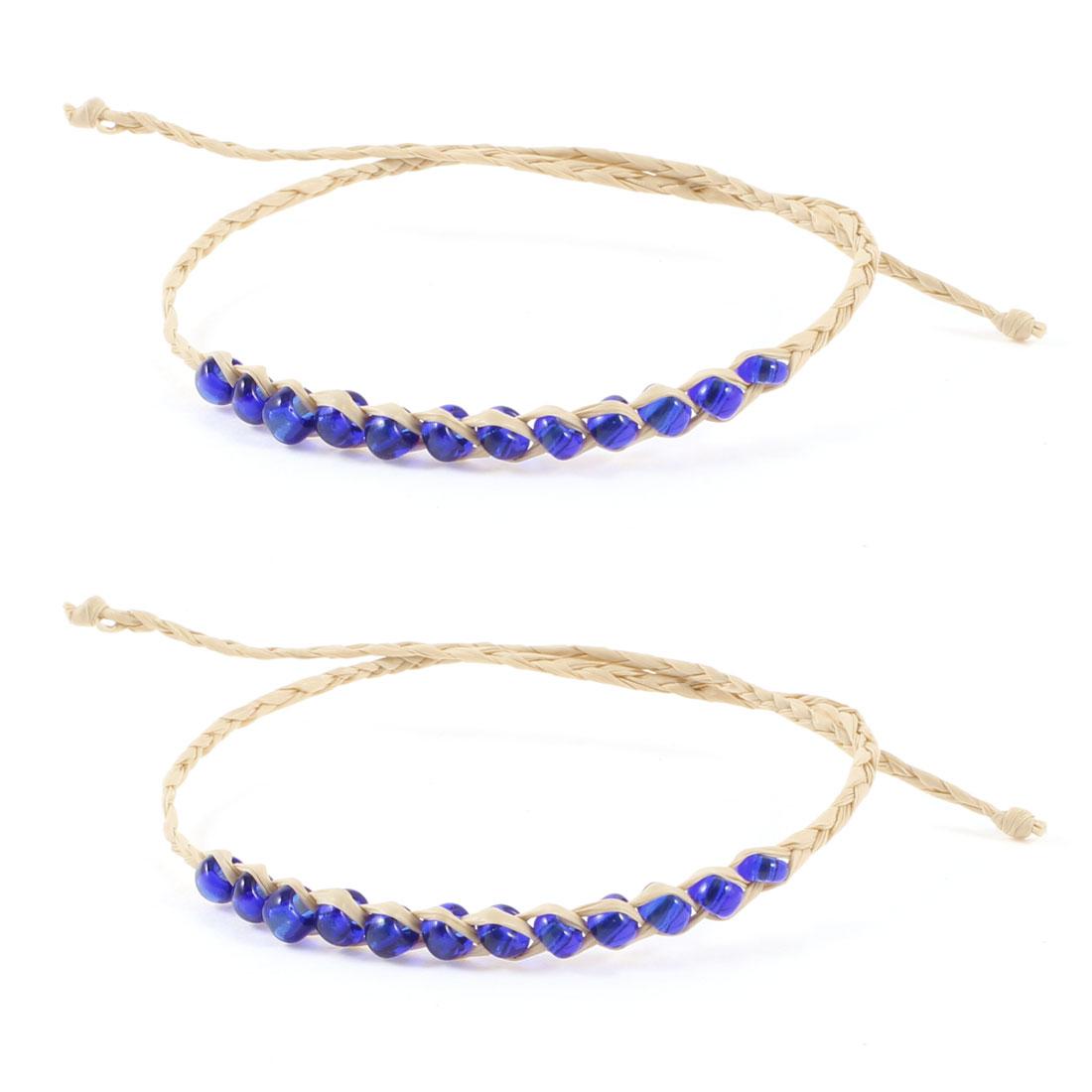 Beige Royal Blue Plastic Beads Detailing Self Tie Straw Wrist Bracelet 2 Pcs