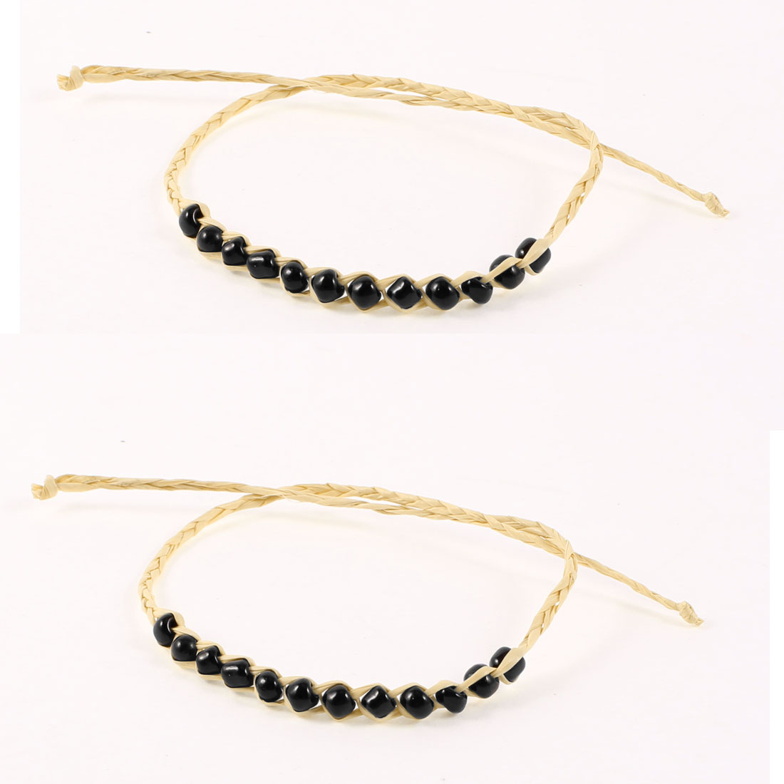 Black Beige Shiny Beads Detailing Lucky Straw Band Bracelets Bangle 2PCS