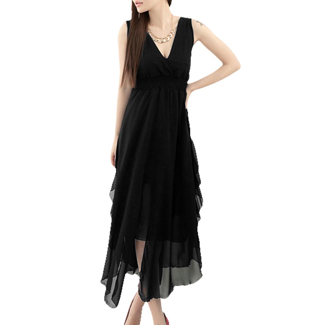 Lining High Waist Summer Casual Empire Tank Dress Black XS for Woman