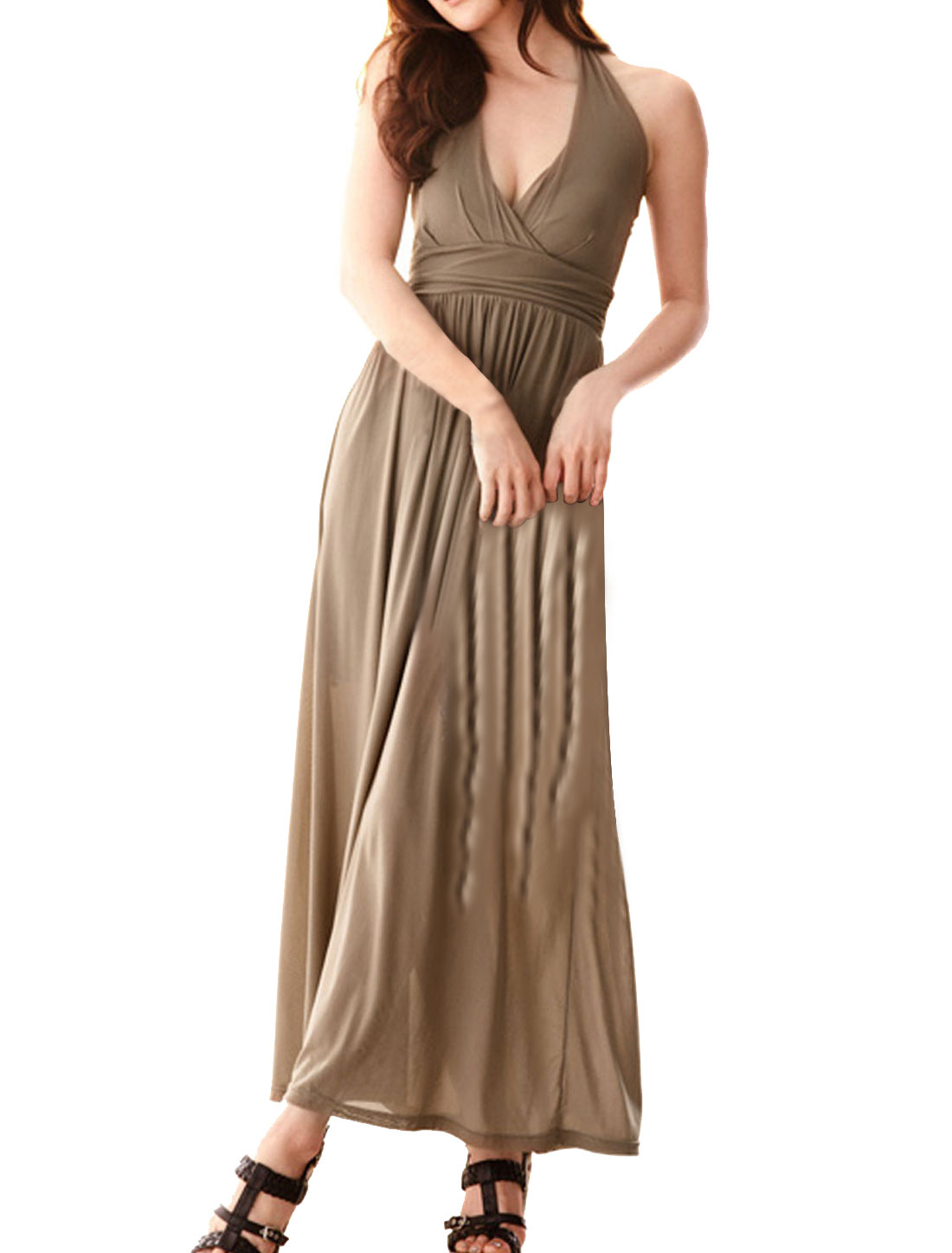Ladies Sleevesless Sheath Waist Elastic Empire Halter Dress Khaki XS