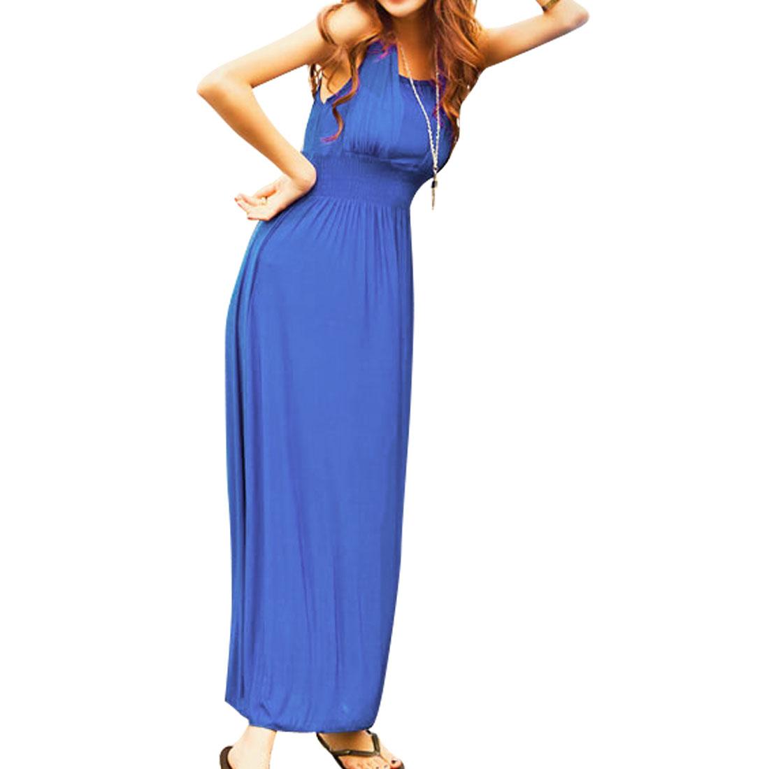 Ladies Sheath Waist Ruffled Sleeveless Maxi Halter Dress Blue XS